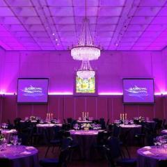 Banqueting hall with pin spotted tables Photo